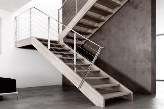 Scale vicenza produzione e installazione scala autoprtante a giorno con doppia struttura legno - Scale a rampa ...